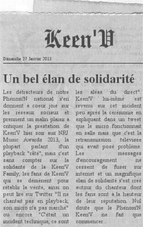 LA KEEN'V FAMILY SOUTIENT KEEN'V!!