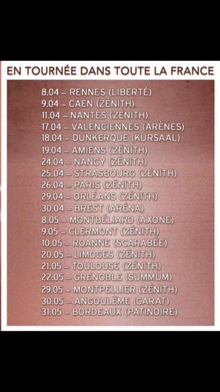 La tournée de Keen'V 2015