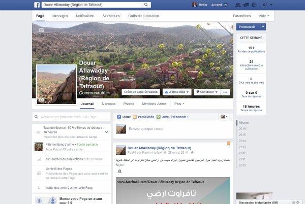 Aprés le succés du Blog Aflawaday Voici la page officiel du Douar sur Facebook qui a était crée en 2010 et administrée actulelement par Mr. Brahim KOURAI et Mehdi ANOUAR
