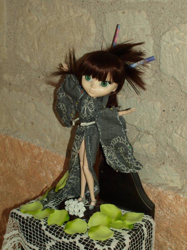 Juliette avec son kimono fait main par mes soins