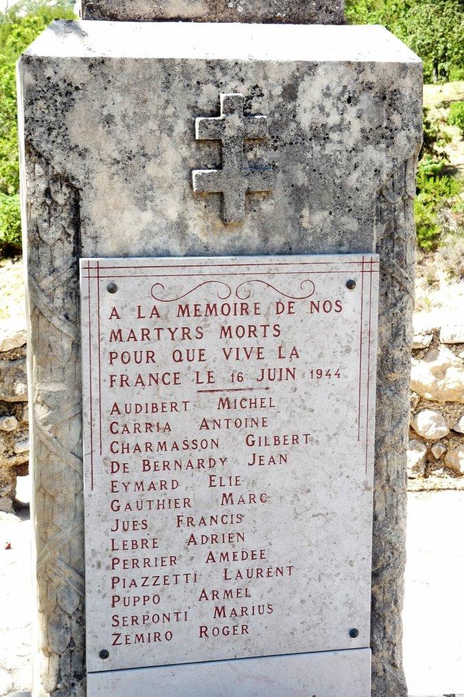 Nous ne vous oublierons jamais -Mort pour la France du coté de la Sainte Victoire