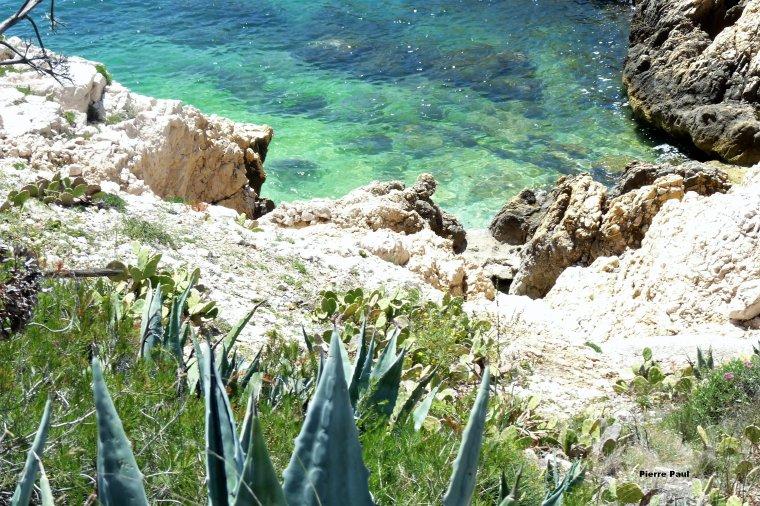 Différentes couleurs selon les fonds marins ( juin 2018 îles du Frioul Marseille )