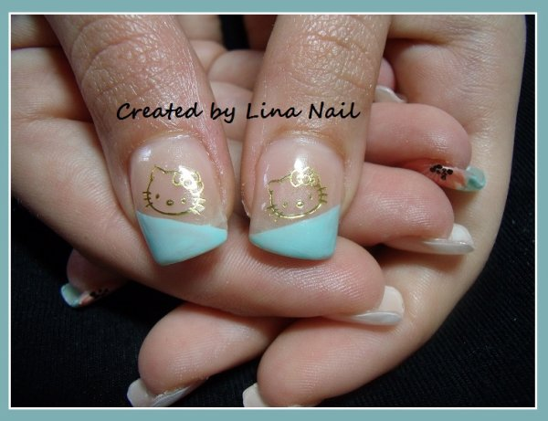 Pose Complet déco nail art et water decal hello kitty