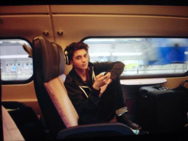 #1 on the train to the airport in Amsterdam with our obscene amount of luggage   ## dans le train pour l'aéroport d'Amsterdam avec notre quantité obscène de bagages #PLANETX