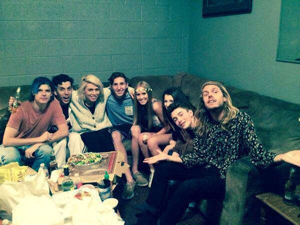 the @GROUPLOVE show in okc was the shit!! i had a blast. here's a photo of my friends and i backstage with the band.  #GreysonChance