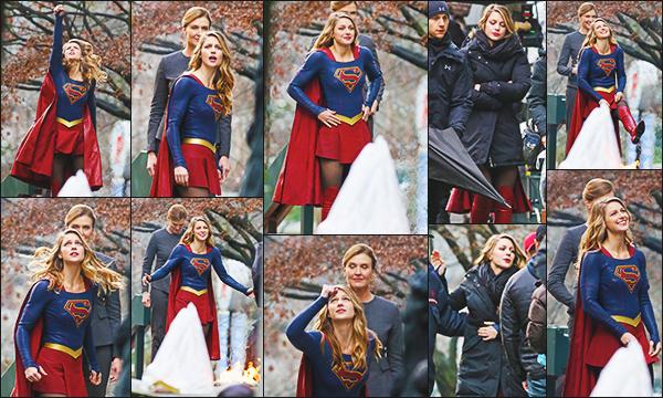 ► 11/12/16 ▬  Melissa était sur le tournage de la saison 2 de la série Supergirl ▬ Vancouver  le tournage de la saison 2 n'est pas fini et la belle s'éclate toujours sur le set. Toujours un beau costume!