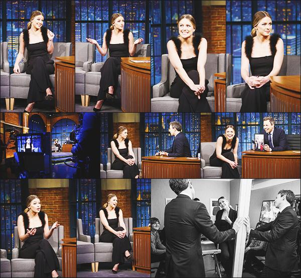 ► 23/01/17 ▬  Toujours en promotion Melissa était présente au Late Night de Seth Meyers ▬ New York  Melissa est magnifique, j'aime beaucoup sa tenue, plutôt classique mais qui lui va très bien, c'est un gros top!