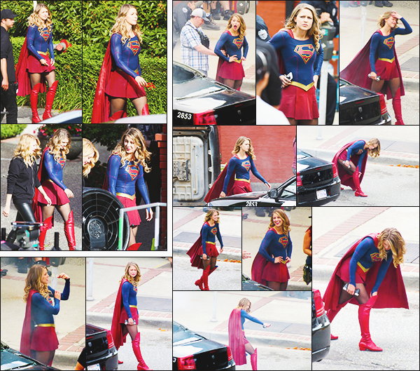 .27/07/17 ► Mélissa Benoist a été apercu sur le tournage de la saison 3 de sa série Supergirl à Vancouver  Les photos de tournage continue et on la voit toujours dans son costume dans une scène de combat apparemment. elle est toujours très jolie! Avis ? .