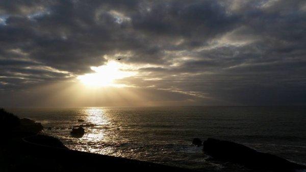 couché de soleil, grande plage de biarritz
