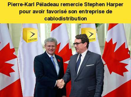 Pierre-Karl Péladeau remercie Stephen Harper pour avoir favorisé son entreprise de cablodistribution