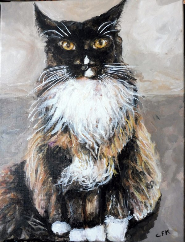 Théme les animaux familier...!  Acrylique sur toile 26 X 35