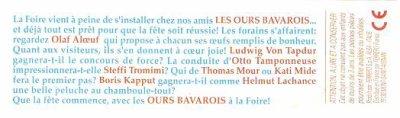 LES OURS BAVAROIS A LA FOIRE  1997 (France)