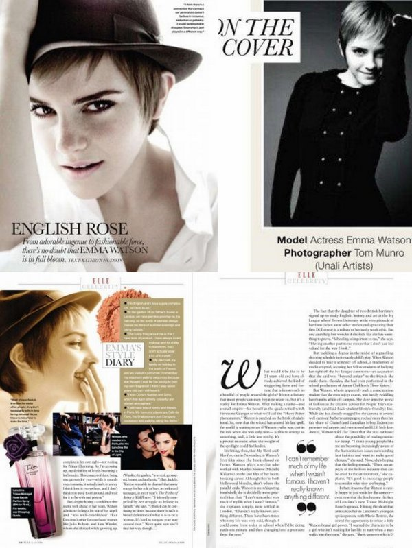 - Scan ELLE Canada +Magazine 8 Days + Photo Emma à Oxford +  photo de film( My Week With Marilyn + Perks of Being a Wallflower).