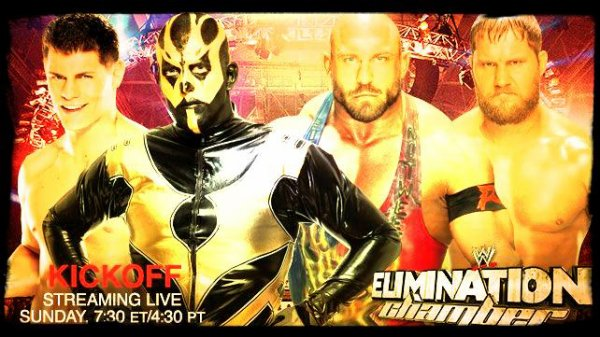 Elimination Chamber 2014 - Kickoff Match, Cody Rhodes & Goldust vs RYBACK & CURTIS AXEL