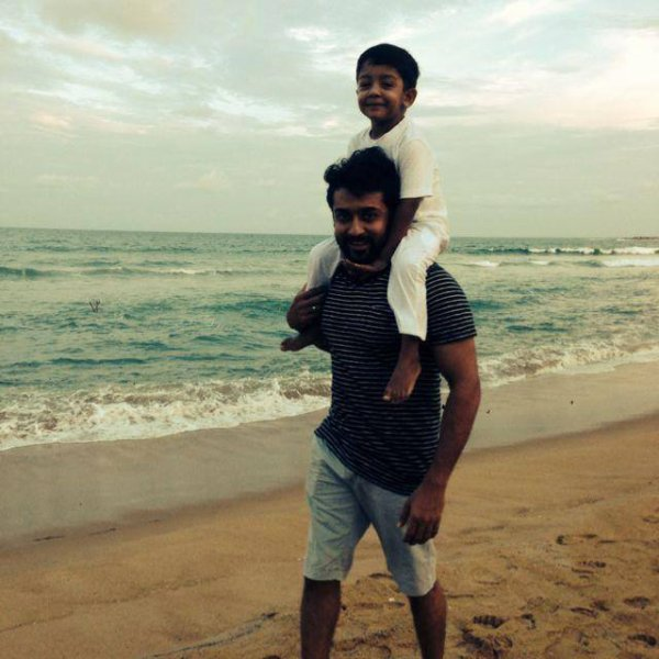 Surya with his Son at Beach