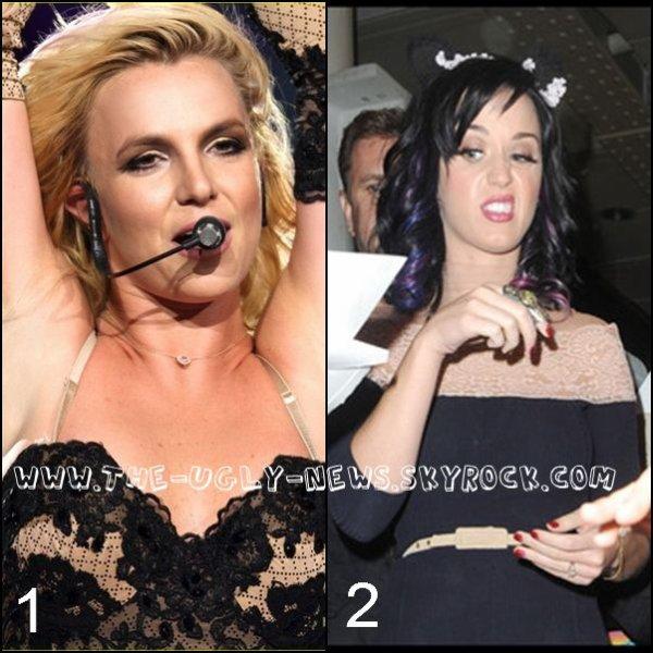 La bataille des grimaces! Qui a la plus belle grimace entre 1. Britney Spears et 2. Katy Perry ?