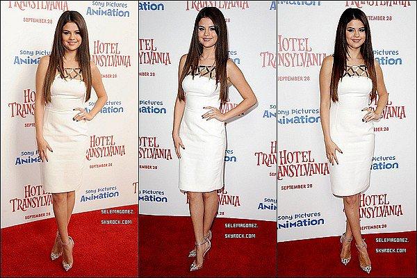 22 septembre Selena était présente pour l'avant premièred'Hôtel Transylvanie Perso j'aime bien TOP/FLOP ?