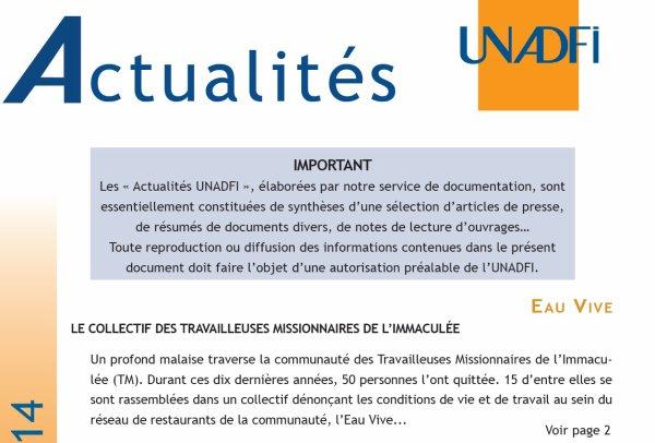 """Un article de UNADFI sur """" Eau Vive"""""""