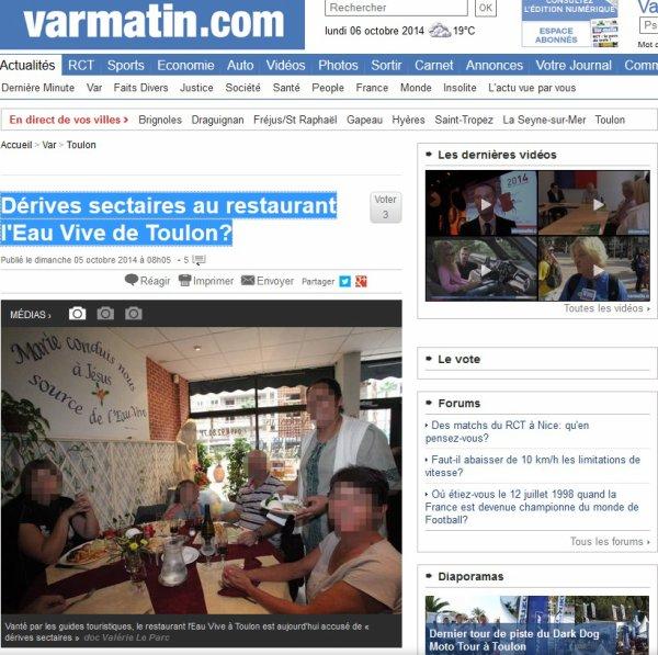 Dérives sectaires au restaurant l'Eau Vive de Toulon?