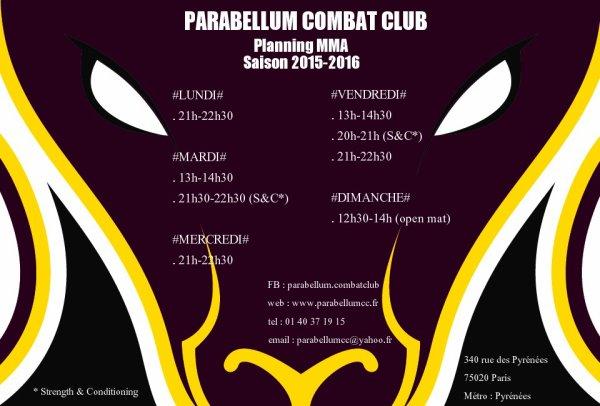 PLANNING MMA POUR LA SAISON 2015-16