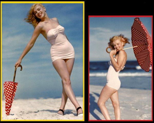 Young Marilyn MONROE été 1949 sur la plage de Tobey-Beach à Long-Island, photographiée par André De DIENES : Avant Marilyn, il y eut Norma Jeane... La vie du photographe de mode Andre De Dienes bascula le jour de 1945 où il rencontra une charmante apprentie mannequin nommée Norma Jeane DOUGHERTY. Il tomba immédiatement amoureux de sa fraîcheur et de son charme, et les deux jeunes gens se fiancèrent, un temps. Ensemble, ils aimaient se lancer sur les routes, à l'aventure, et De Dienes photographia Norma Jeane dans tous les cadres naturels possibles, dans le style original qui faisait sa patte. Il rassembla vite un impressionnant portfolio de clichés, qui aidèrent cette petite brune souriante à lancer sa carrière de mannequin et, quelques années plus tard, la carrière d'actrice de cinéma qui fit d'elle une légende.