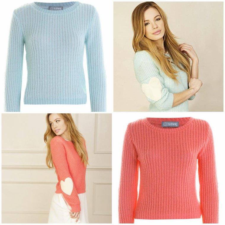Pink et Blue Heart Knit