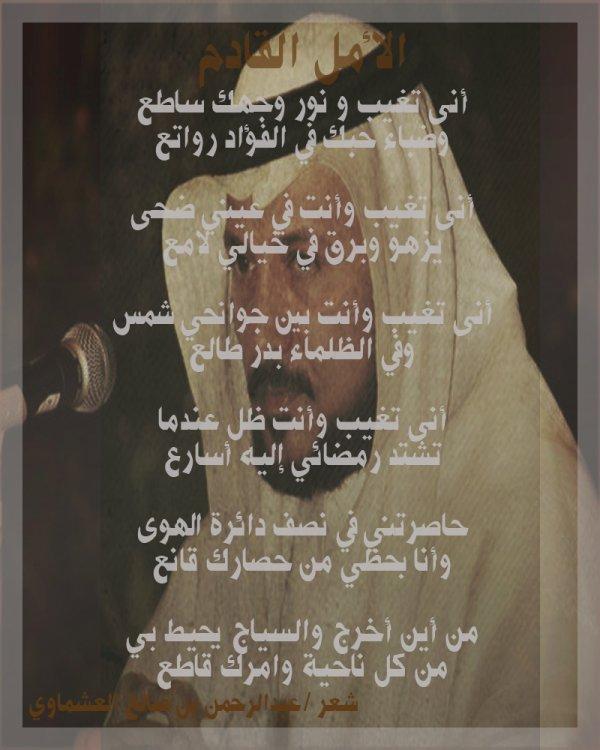 عنوان القصيدة : ۩♥۩ الأمـــل القـــادم ۩♥۩  للشاعر :عبدالرحمن العشماوي