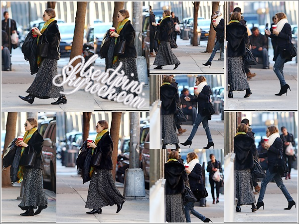 10 / 11 / 14 : Mary-Kate & Ashley Olsen arrive dans un immeuble de bureaux dans - New York.Pour le coup c'est Ashley qui nous fais un flop avec sa tenue de vieille bergère (désolé pour le mot ) avec c'est cheveux mouillé et tout à plat ,par contre Mary-Kate nous fais un top avec sont jean et c'est bottines à talons j'adore sa tenue un Top ! et vous , vous en pensez quoi ?
