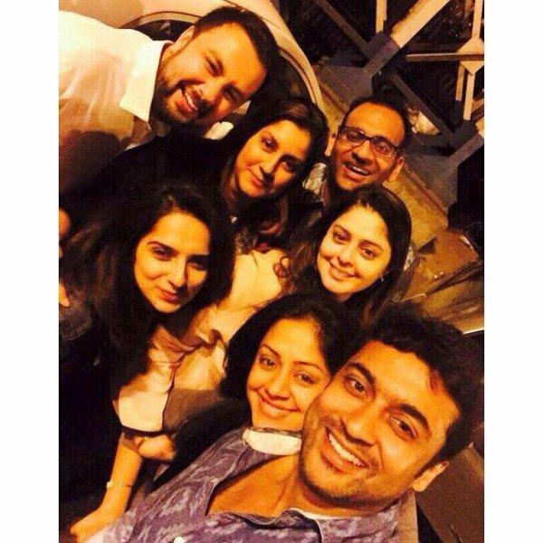 Surya Jyothika selfie witj Jos family - Dev & Diya - kutty Surya