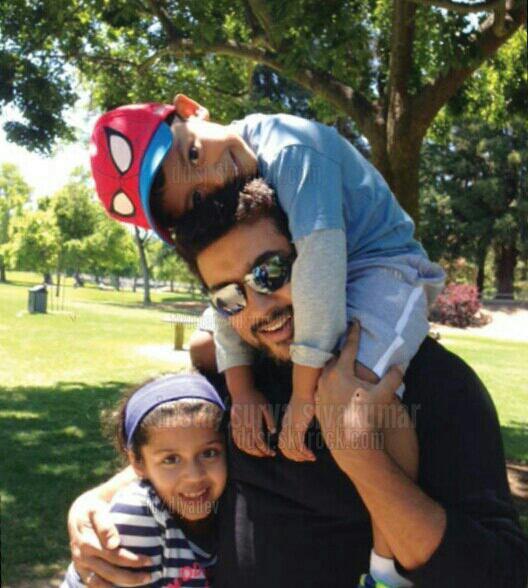 Suriya with his kids Diya and Dev - Rare/Unseen pic