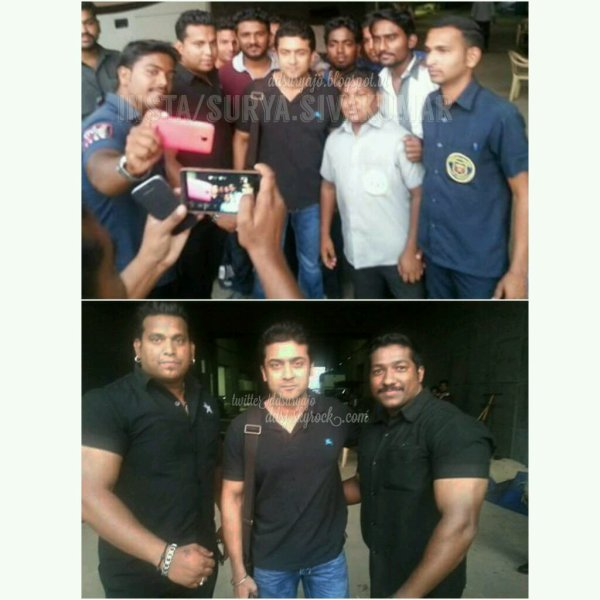 Suriya with fans @ 24 shooting spot, Pune