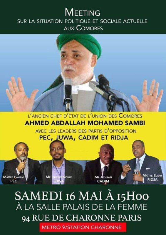 MEETING SUR LA SITUATION POLITIQUE ET SOCIALE AUX COMORES, CE SAMEDI  16 MAI  A 15H A PARIS