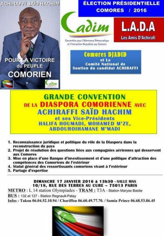 LA GRANDE CONVENTION DE LA DIASPORA AVEC LE CANDIDAT ACHIRAFI SAID HACHIM ET SES VICE-PRÉSIDENTS, HALIFA HOUMADI,MOHAMED M'ZE' ET ABDOUROIHAMANE M'MADI
