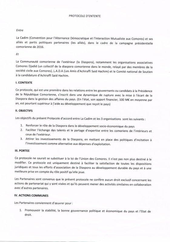 SIGNATURE DE LA CONVENTION ENTRE LE CANDIDAT ACHIRAFI SAID HACHIM ET LA DIASPORA