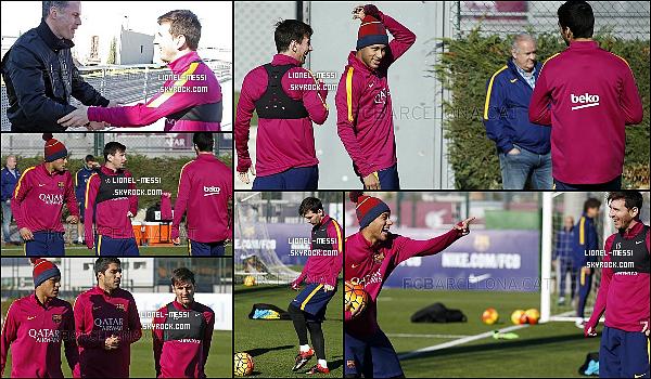 . 04/02/16 - Après la victoire face à Valence hier, Messi était à l'entraînement du FC Barcelone ! Les Catalans s'entraînent pour le match de dimanche, ils affronteront les derniers du championnat Levante en match de Liga BBVA.  .