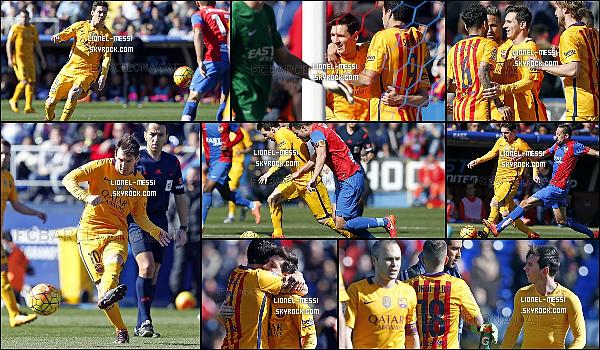 . 06/02/16 - Avant le match face à Levante, le génie Messi était à l'entraînement du FC Barcelone. 07/02/16 - Messi et le FC Barcelone affrontait le dernier du championnat Levante en Liga BBVA. Le FC Barcelone gagne sur la pelouse de Levante 0-2 grâce à un but contre son camp de Navarro (21') et à Luis Suarez (90+2') ! .