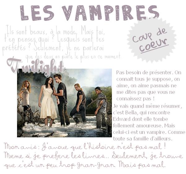 La mode est aux vampires, ils sont tous fantastiques, mais quels sont tes chouchous ? Perso, je choisis sans hésiter The Vampire Diaries, et Damon Salvatore ! Et toi ?