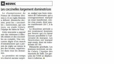 Article de presse  du match contre Salon la Tour (10/10/10)