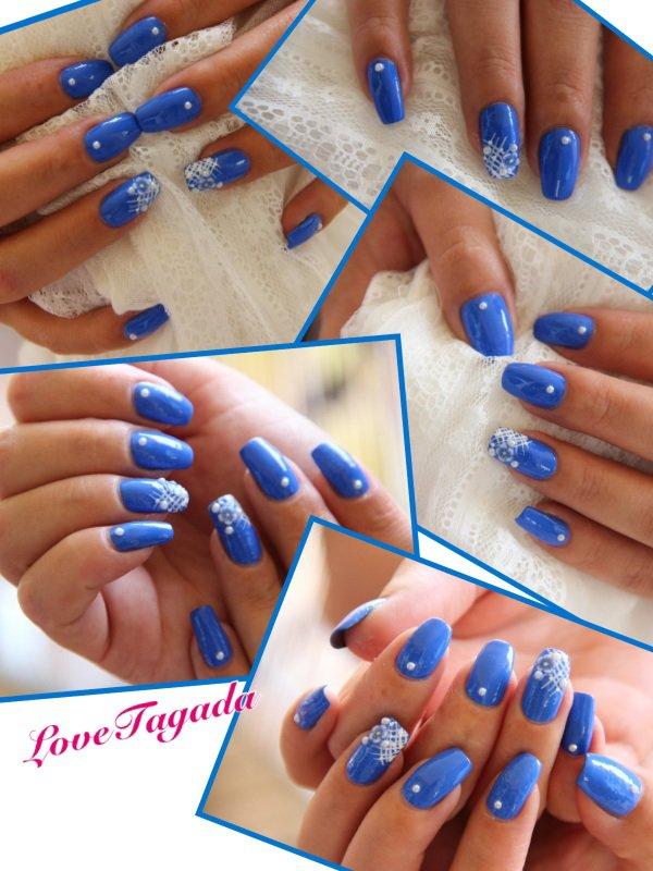 nail art résille fleur bleu