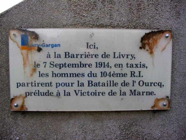 LES TAXIS DE LA MARNE  SEPTEMBRE 1914