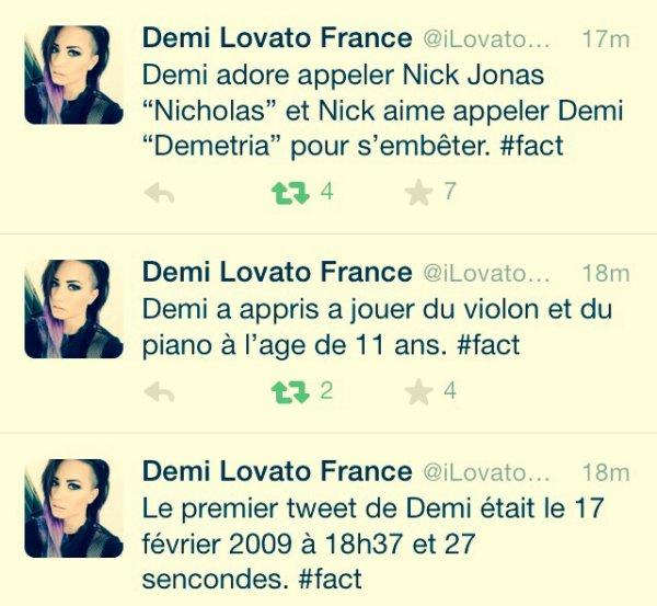 #Facts de Demi Lovato : 1