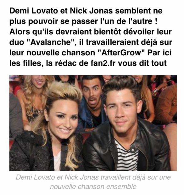 AfterGrow bientôt!! Duo de Nick Jonas et Demi Lovato:)