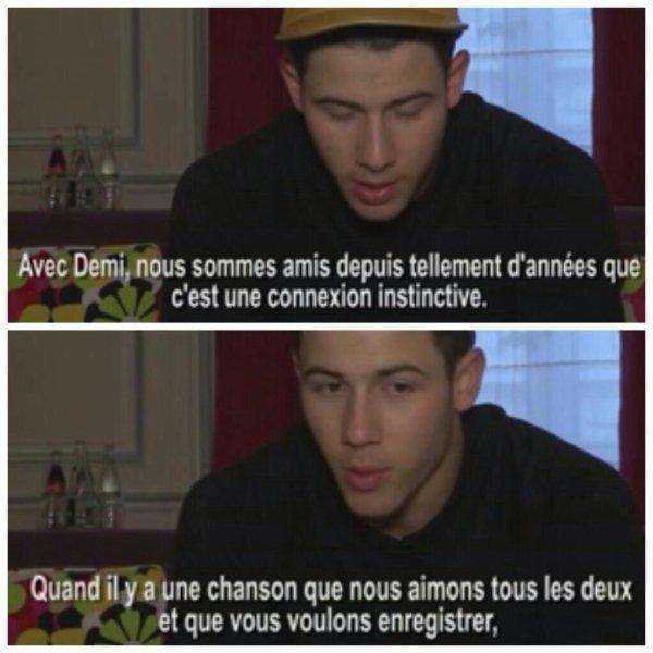 Interview de Nick pour Fan2 parlant de Demi