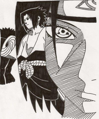 2 petites copies, une de Lucy dans Elfen Lied et une de Sasuke & sont frére adoré