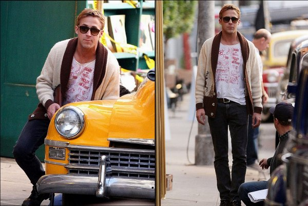 Ryan Gosling on the set of Gangster Squad, Nov 29th