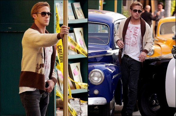 Ryan Gosling on the set of Gangster Squad, Nov 29th