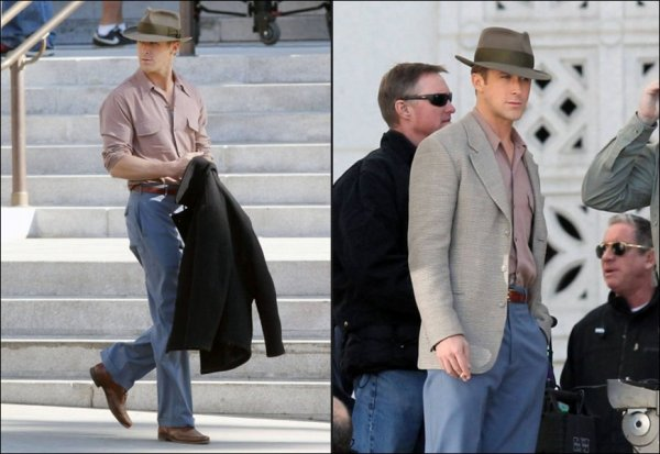 Ryan Gosling on the set of Gangster Squad, Dec 5th