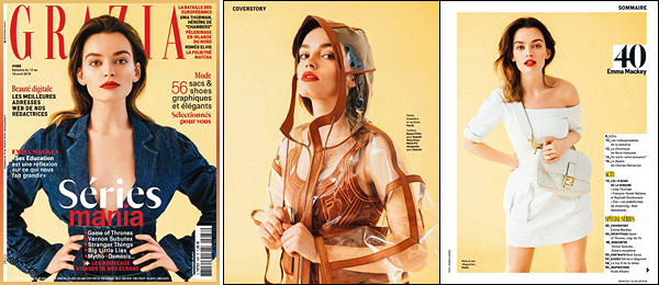 •EmmaMackey fait la couverture du magazine GraziaFrance pour lemoisd'avril2019.