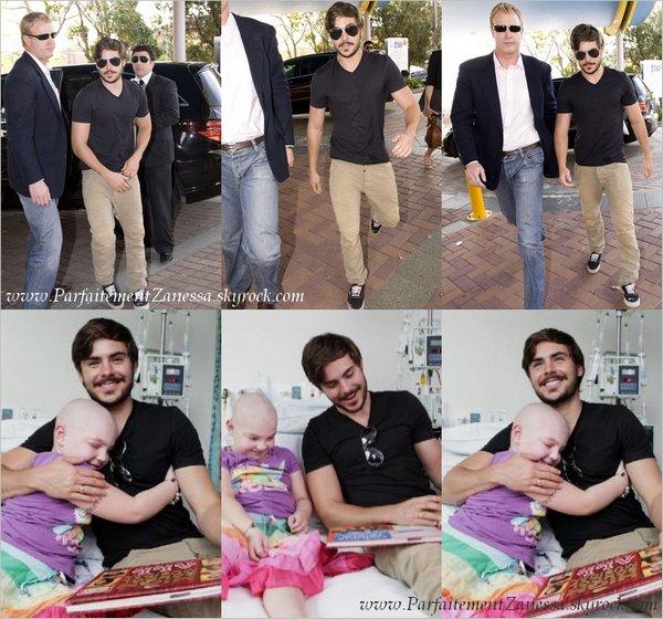 21.09.2010 // Zac rend visite à une enfant malade au Sydney Children's Hospital dans Randwick  Il a bon coeur :)