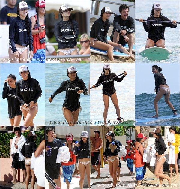 17.10.2010 // Vanessa a été vue surfant sur la plage de Waikiki en compagnie de sa maman : Gina, sa soeur : Stella et de son futur co- star : Josh Hutcherson dans The Mysterious Island ( Voir vidéo ? ) Elle a l' air de bien s' amusée ^_^